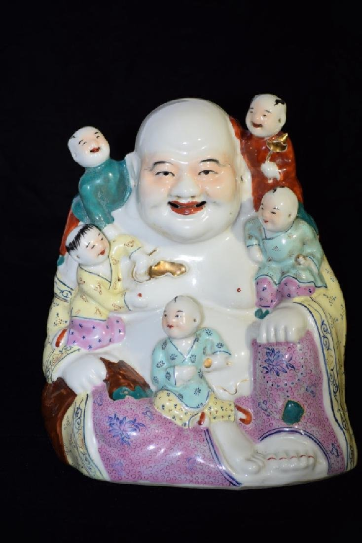 20th C. Chinese Famille Rose Buddha with Boys