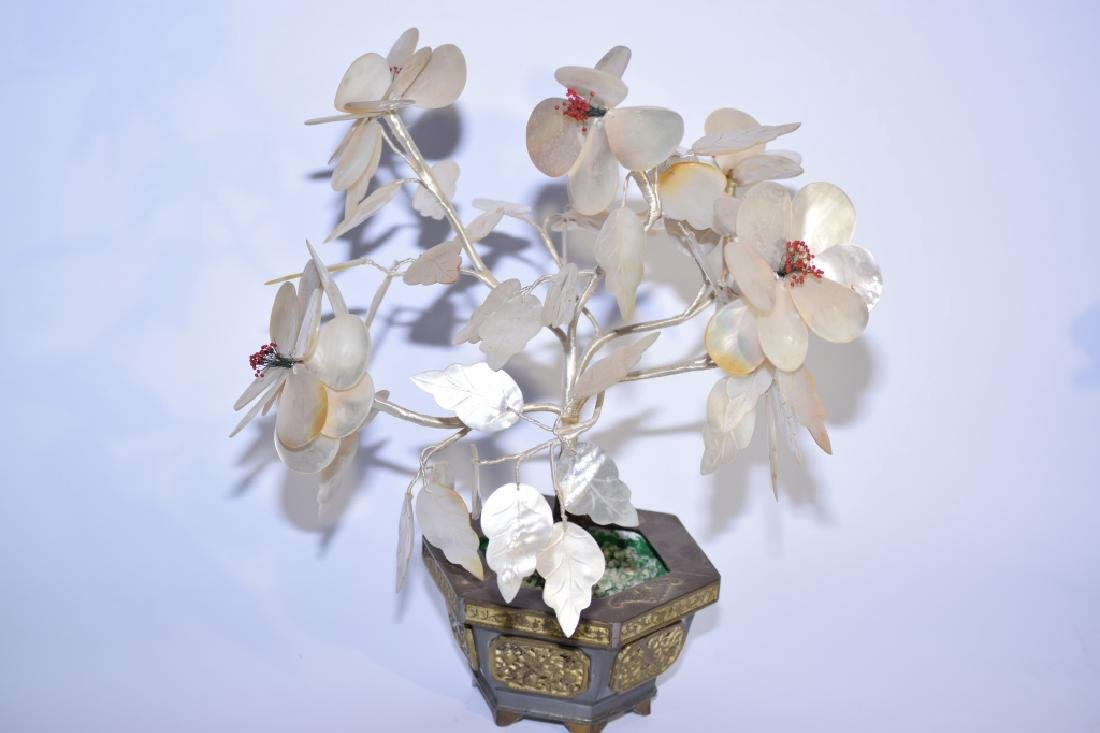 Chinese Mother-of-Pearl Tree in Pewter Planter