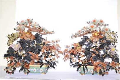 Pair of Magnificent Chinese Jade Trees, 28in by 29in