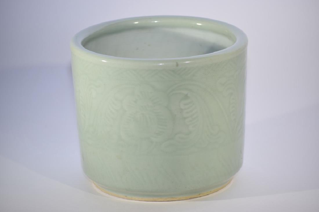 18th C. Chinese Pea Glaze Relief Incense Burner