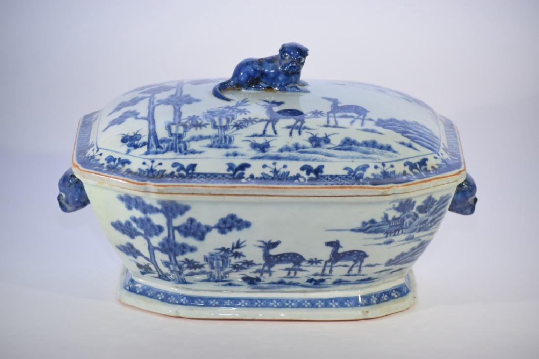 Large 18th C. Chinese Blue and White Covered Bowl