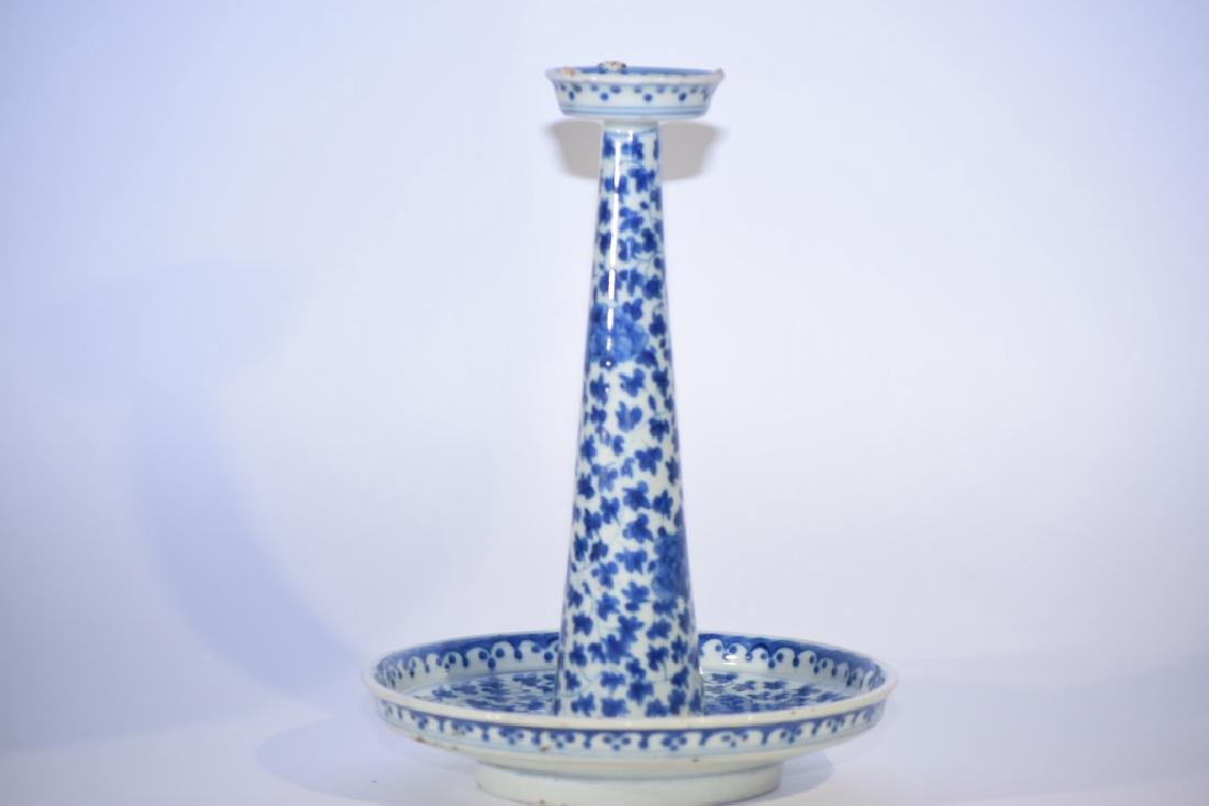 18th C. Chinese Blue and White Candle Stick