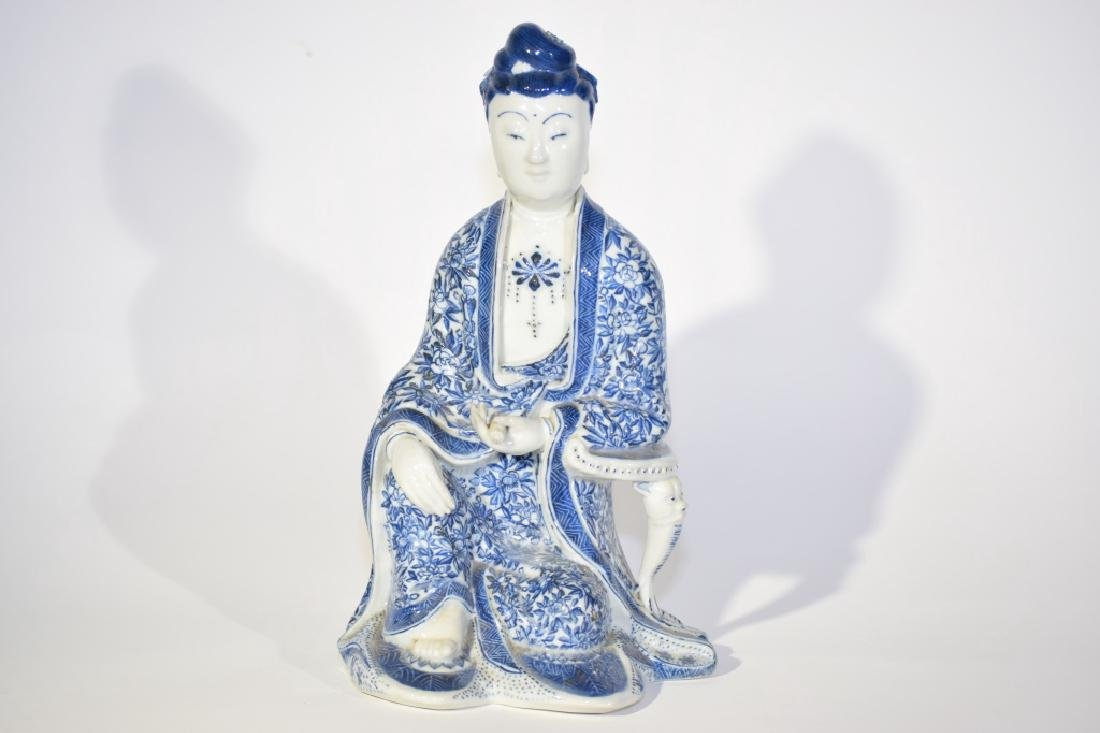 Chinese Blue and White Sitting Buddha
