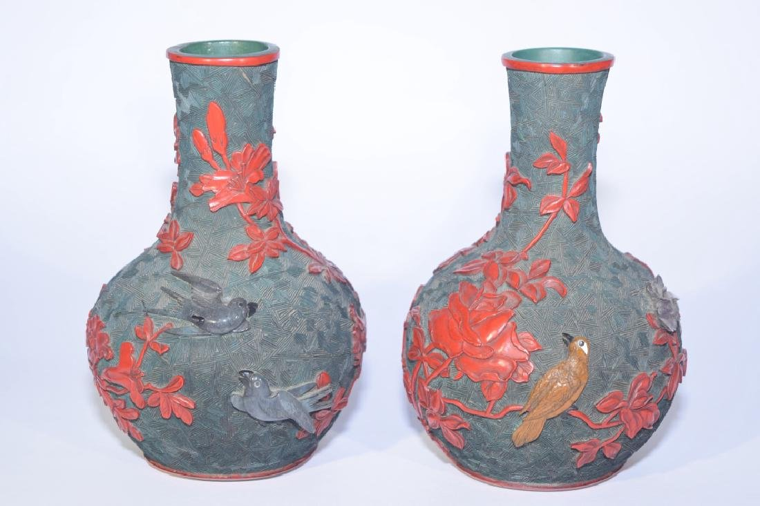 Pair of Chinese Cinnabar Carved Bulbous Vases