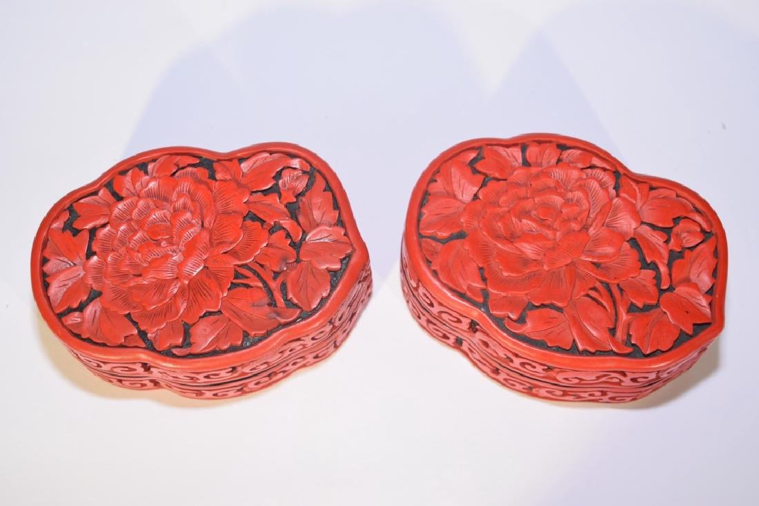 Pair of Chinese Cinnabar Carved Boxes