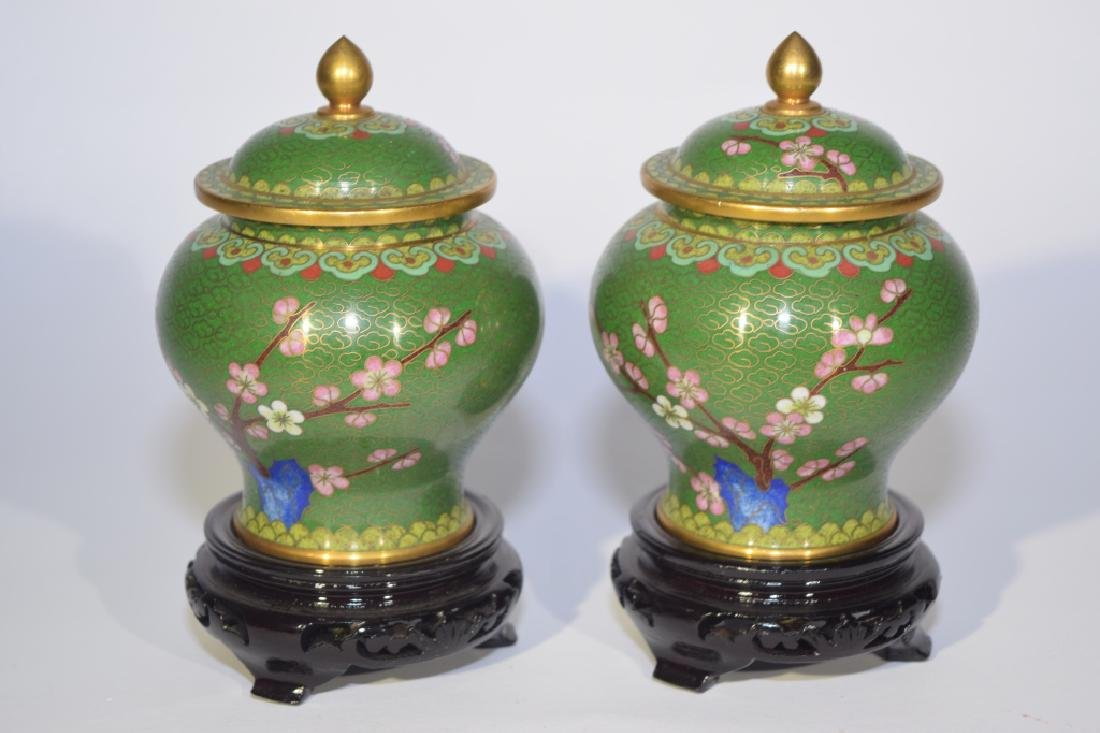 Pair of Chinese Cloisonne Covered Jars with Stands