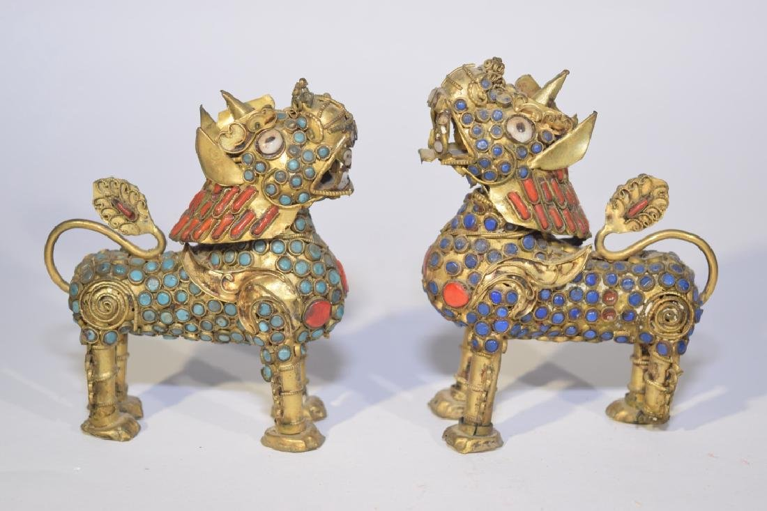 Pair of Chinese Precious Stone Inlaid Silver PiXiu