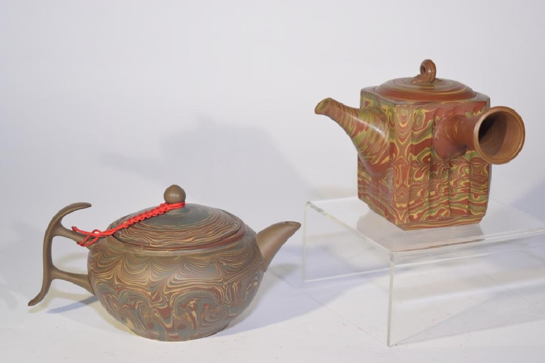 Two Chinese Mixed Color YiXing ZiSha Teapots