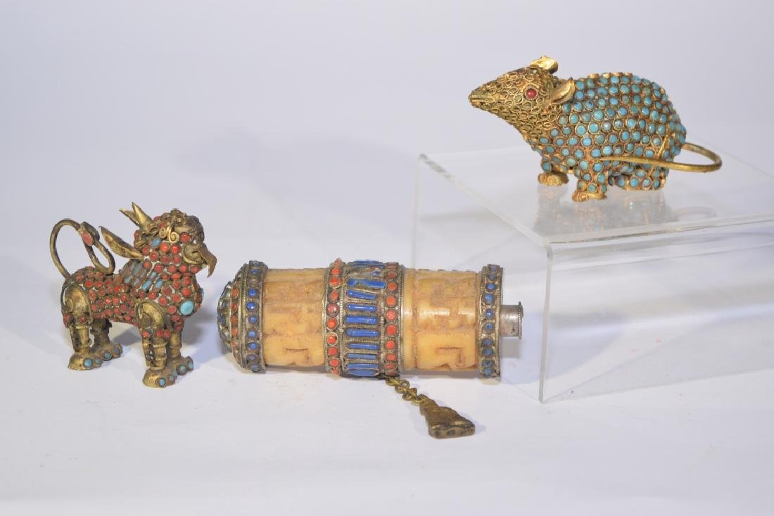 Group of Chinese Precious Stone Inlaid Silver Objects