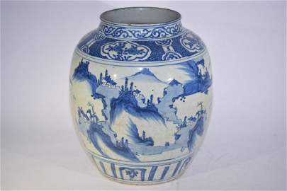 Large Ming Chinese Blue and White Jar