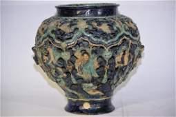 Large Ming Chinese FaHua Glaze Carved Figures Jar