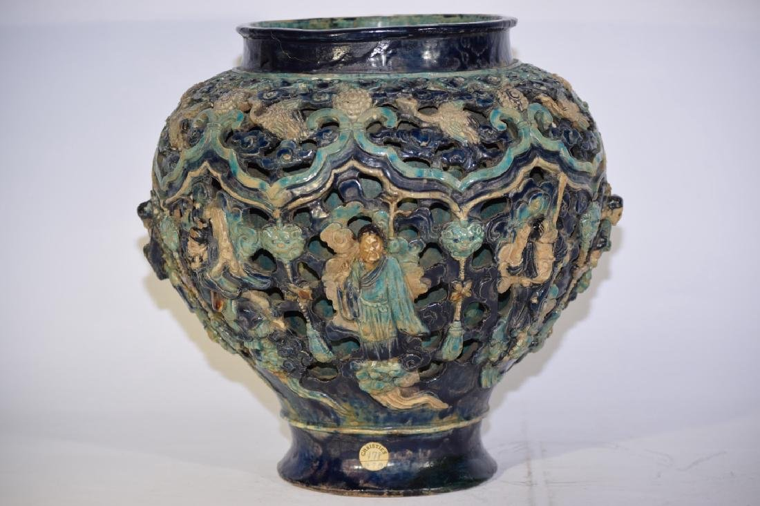 Large Ming Chinese FaHua Glaze Carved Figures Jar