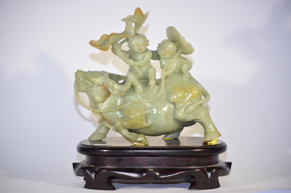 Chinese Green Jade Carved Boys Riding Ox