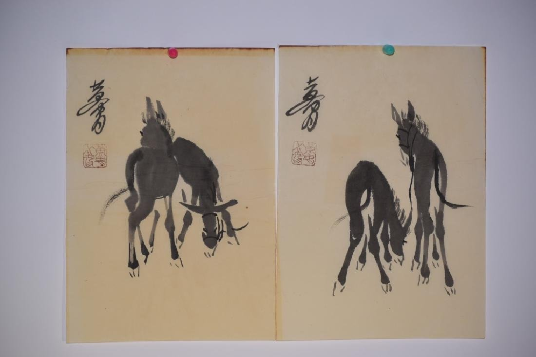 Two Chinese Watercolor Paintings, after Huang Zhou