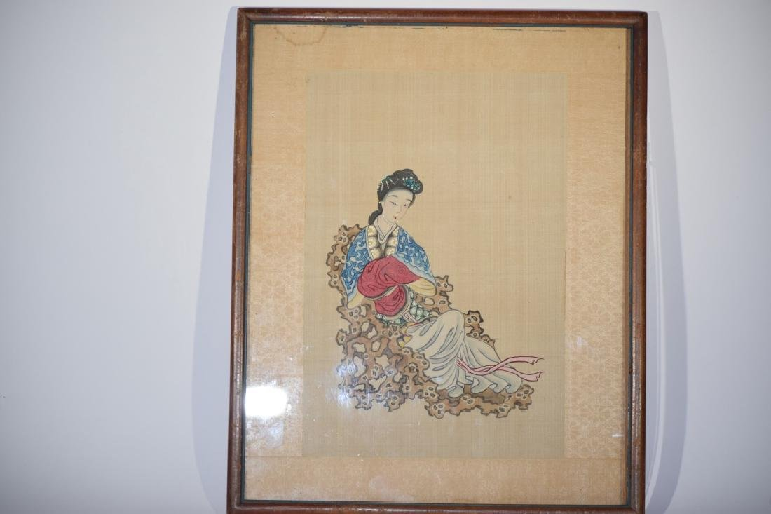 Qing Chinese Watercolor Painting of Maiden