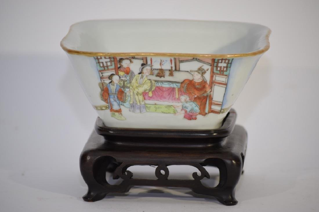 Daoguang Chinese Famille Rose Square Bowl