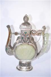 Qing/Republic Chinese Silver Gilt Bronze with Jade