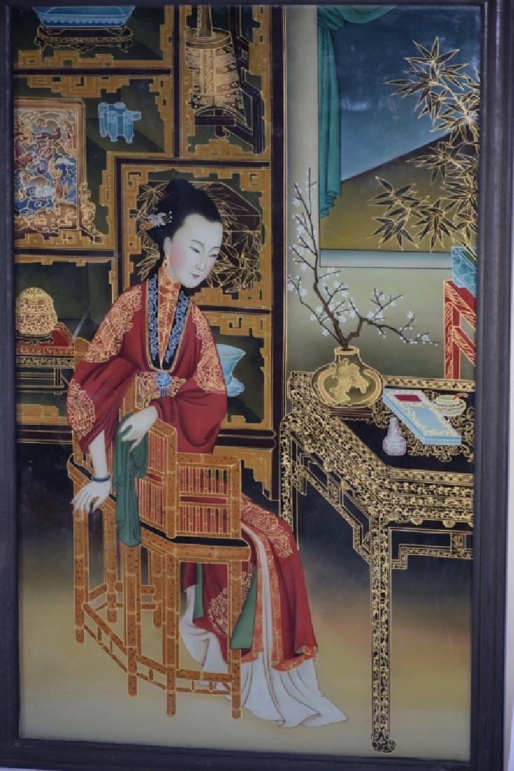 Qing Chinese Reverse Glass Painting of Concubine