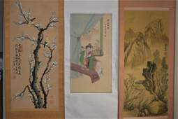 Three Chinese Watercolor Paintings