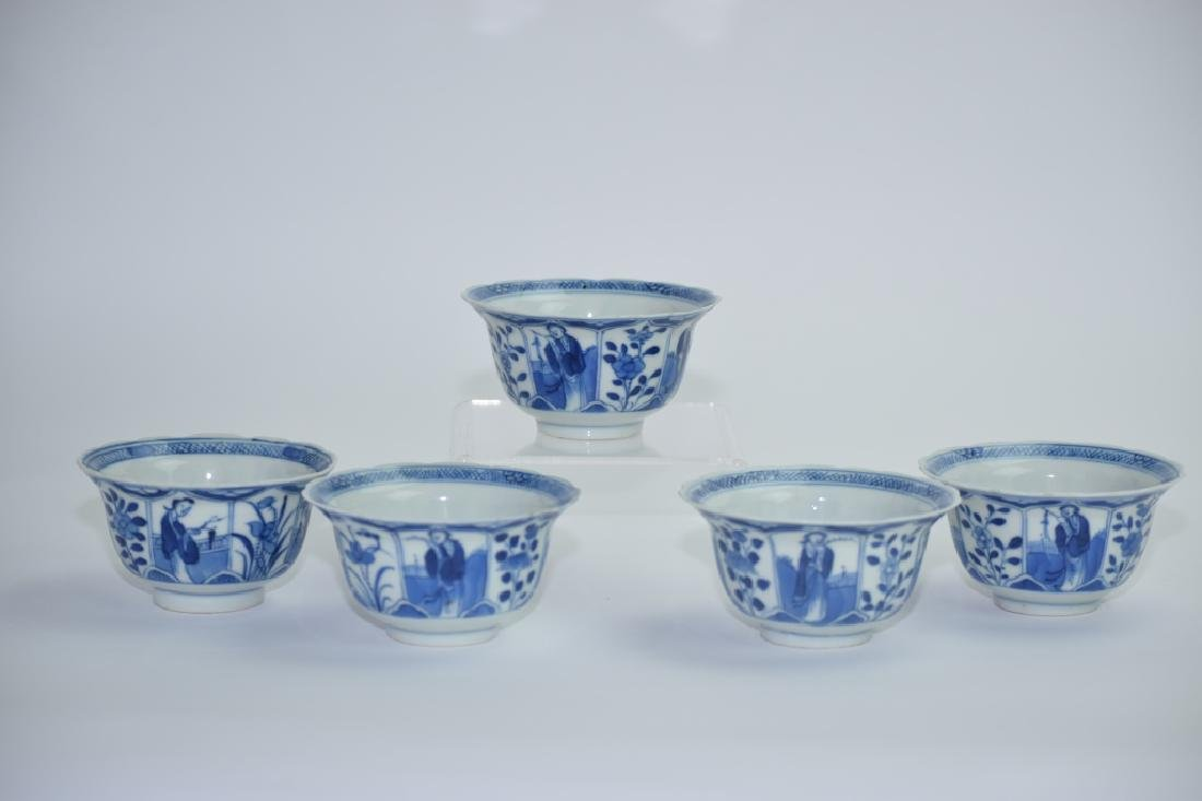 Set of 5 Kangxi Chinese Blue and White Tea Cups