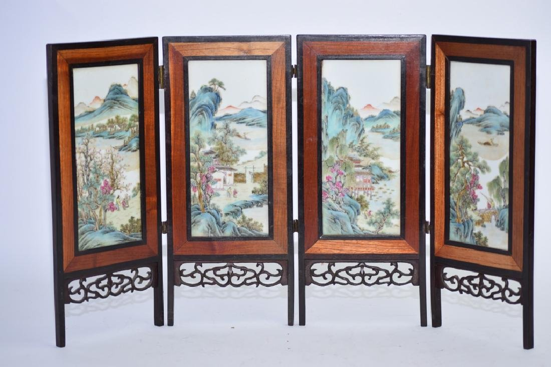 Republic Chinese Famille Rose Plaque Table Screen