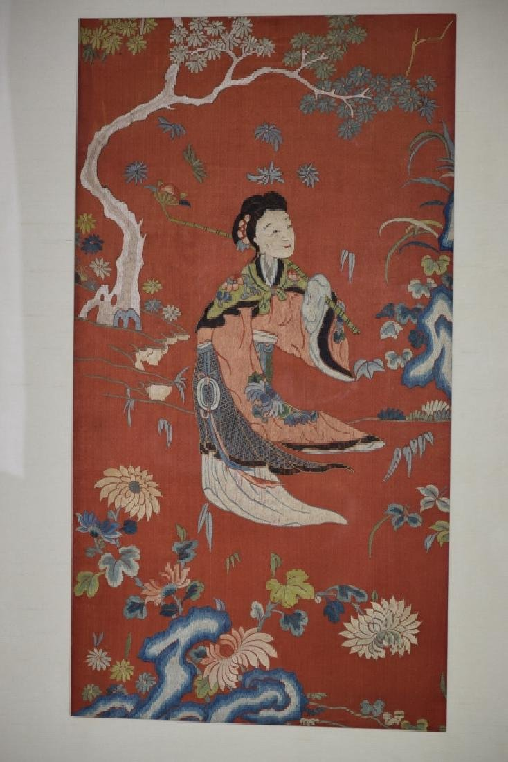 Qing Chinese Framed Embroidery of MaGu