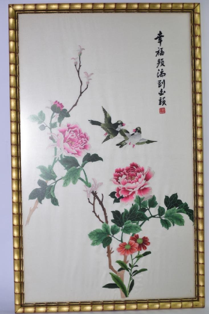Chinese Framed Embroidery of Flowers