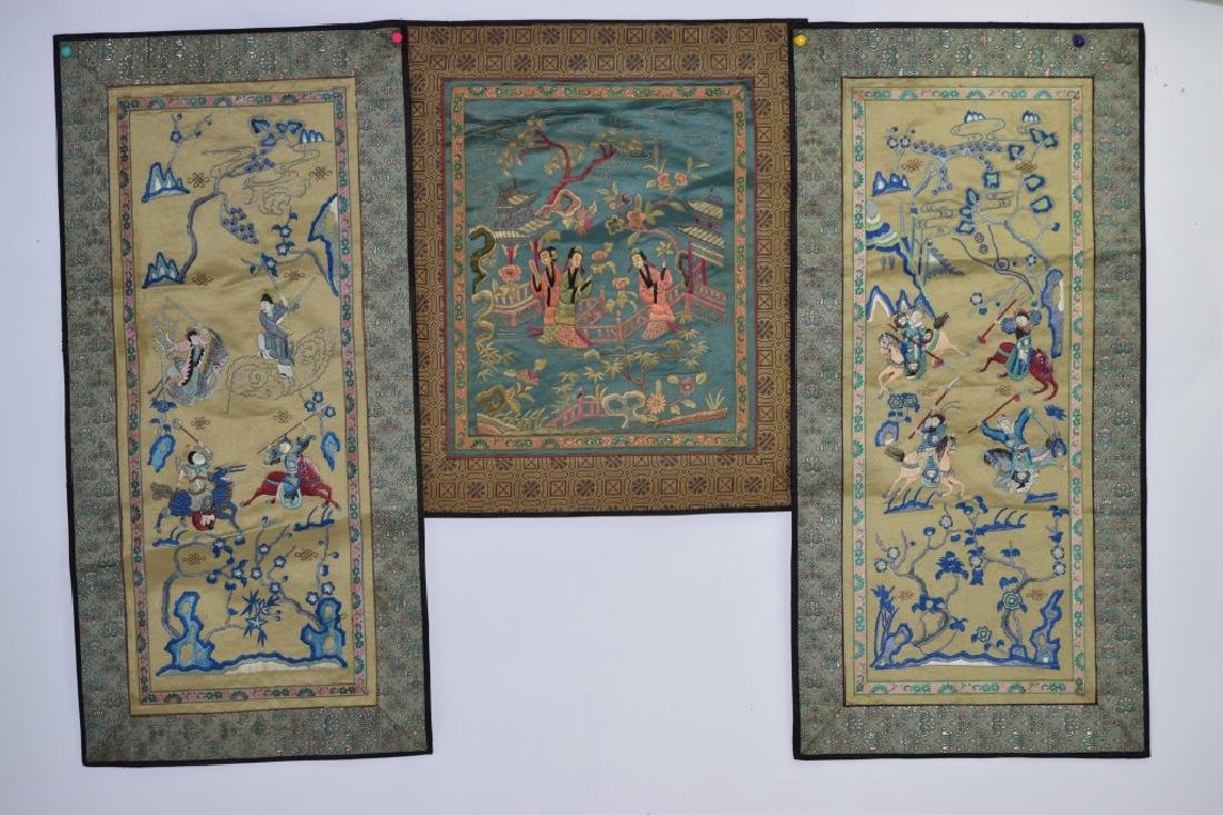 Three Chinese Embroideries of Figures