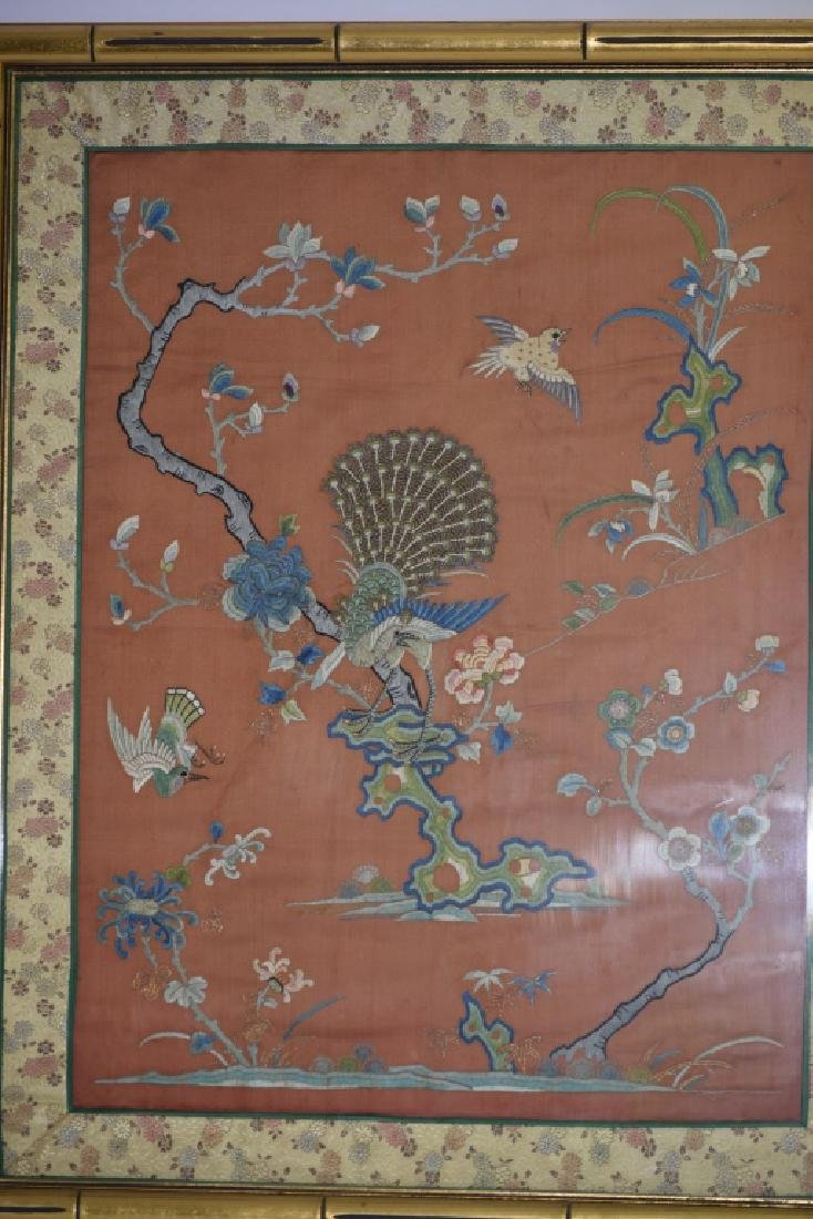Qing Chinese Framed Embroidery of Birds