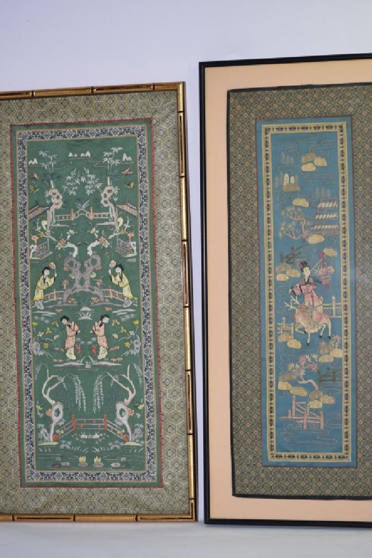 Two Chinese Embroideries of Figures