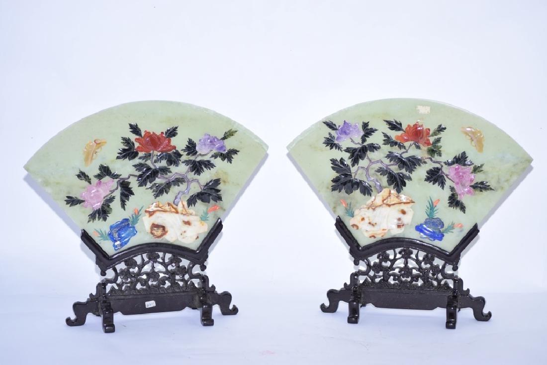 Pair of Chinese Jade and Precious Stone Screens