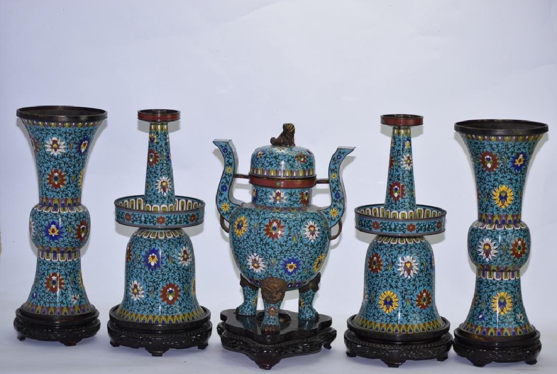 Set of Republic Chinese Cloisonne Religious Wares