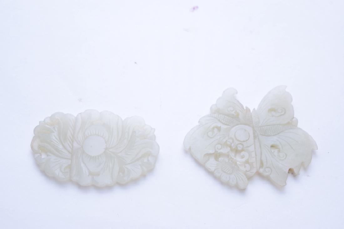 Two Qing Chinese White Jade Carved Buttons