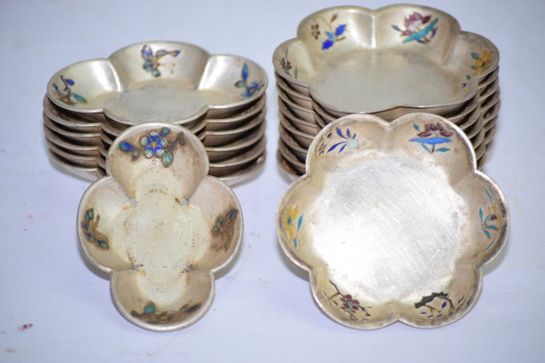 Group of 16 Chinese Enameled Silver Tea Saucers