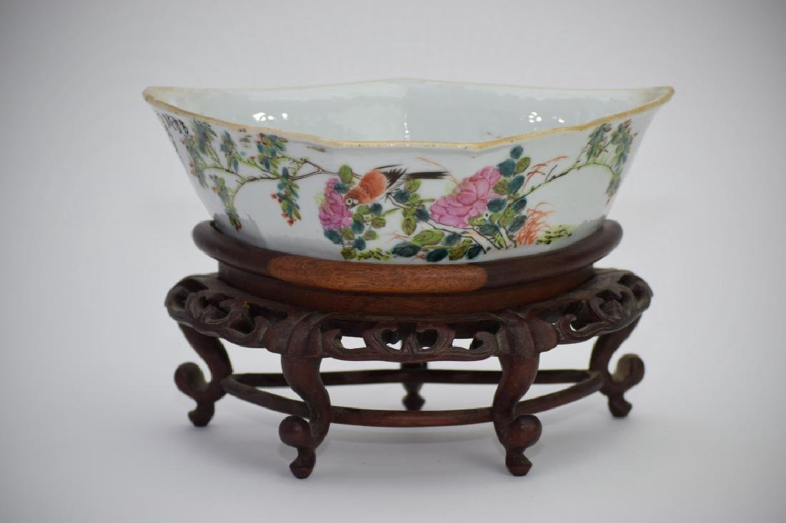 Qing Chinese Famille Verte Triangular Bowl