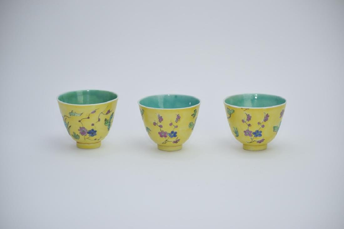 Three Republic Chinese Famille Rose Tea Cups