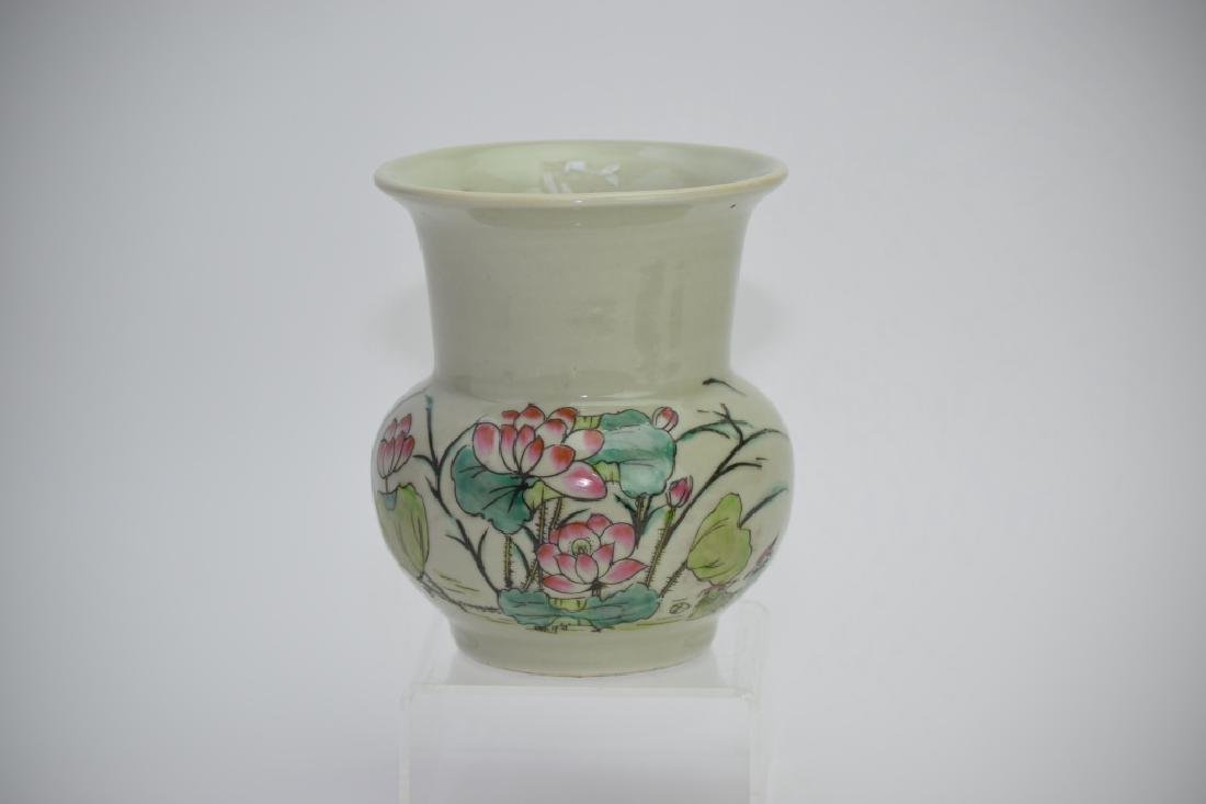 Chinese Pea-Glaze with Famille Rose Spitoon