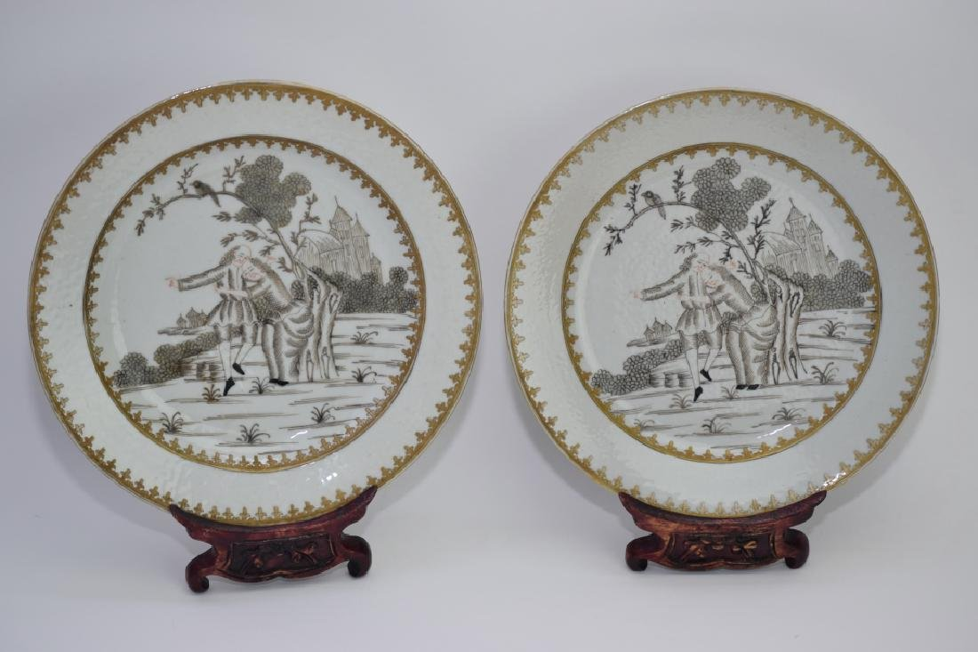 Pair of Qing Chinese Ink Glaze Plates
