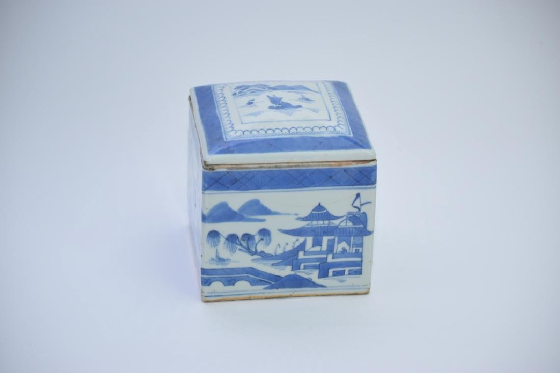 18th C. Chinese Blue and White Tea Caddy