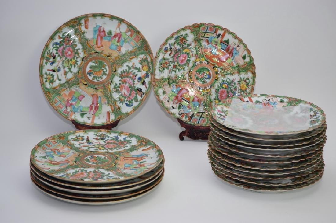 Group of 18th C. Chinese Famille Rose Medallion Plates