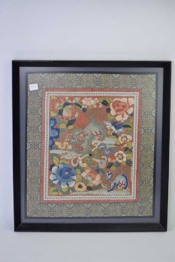 Chinese Embroidery of Lions in Frame