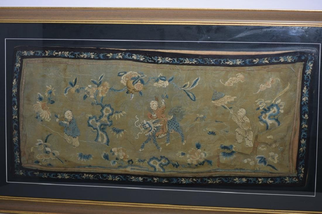 Qing Chinese Embroidery in Frame