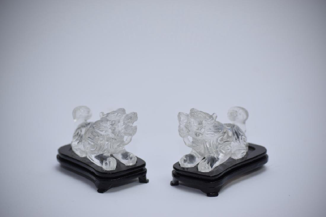 Pair of Qing Chinese Rock Crystal Lions - 4