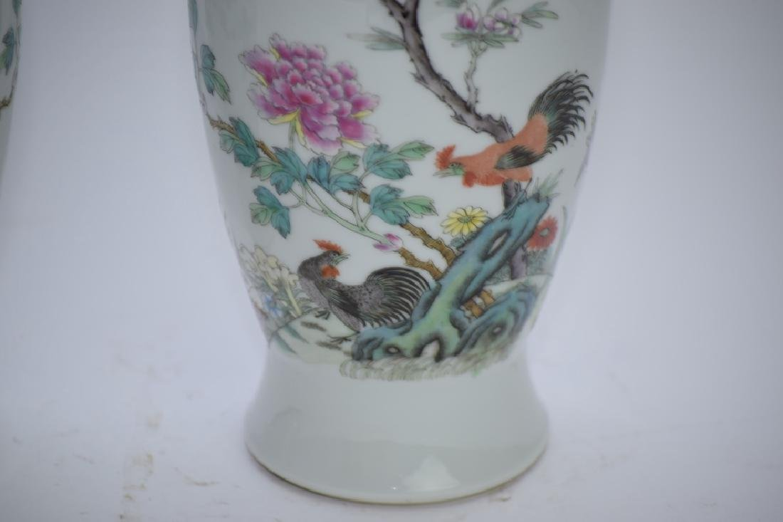 Pair of 1960s Chinese Famille Rose Vases - 3