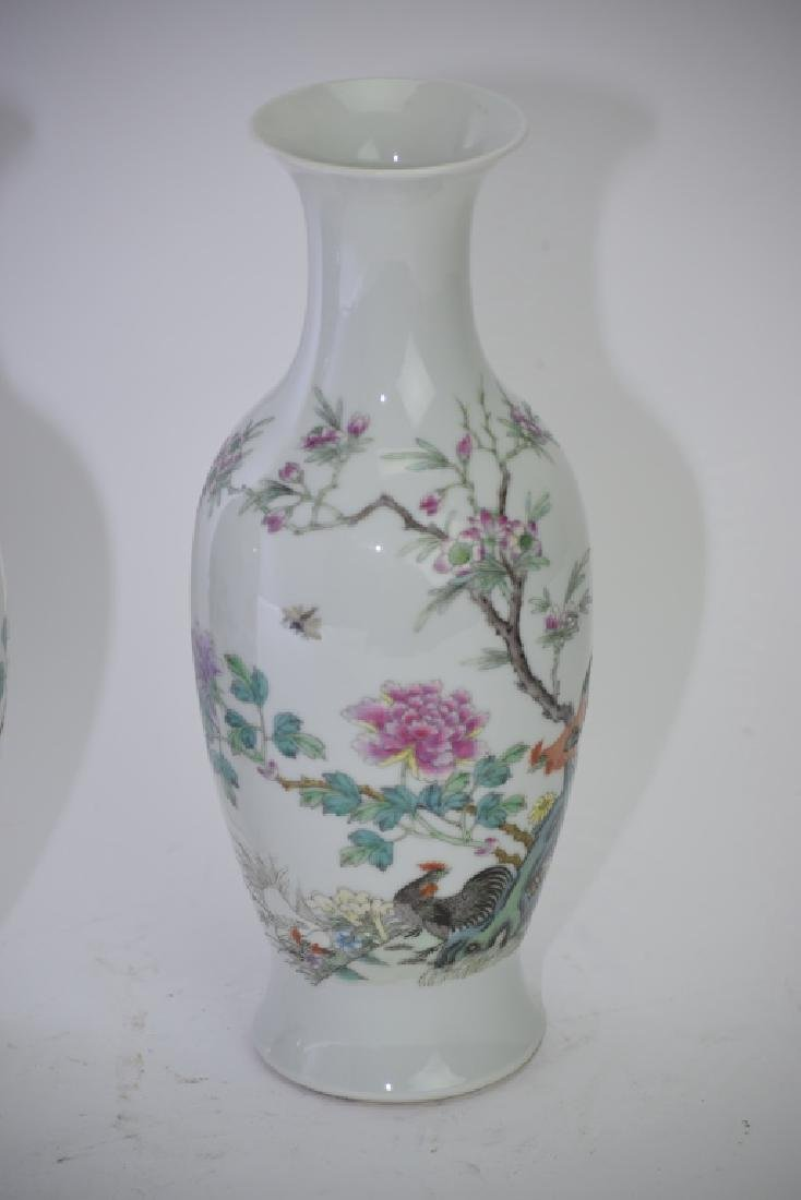 Pair of 1960s Chinese Famille Rose Vases - 4