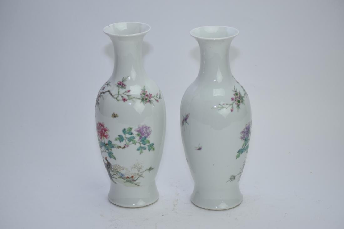 Pair of 1960s Chinese Famille Rose Vases - 5