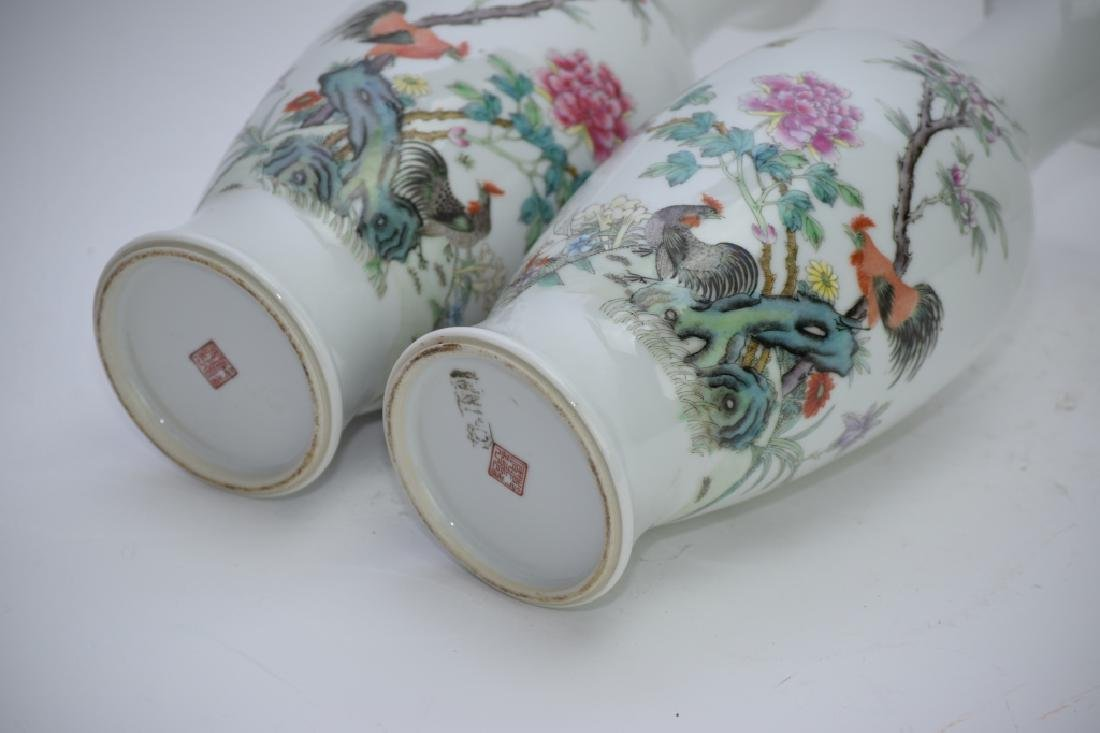 Pair of 1960s Chinese Famille Rose Vases - 7