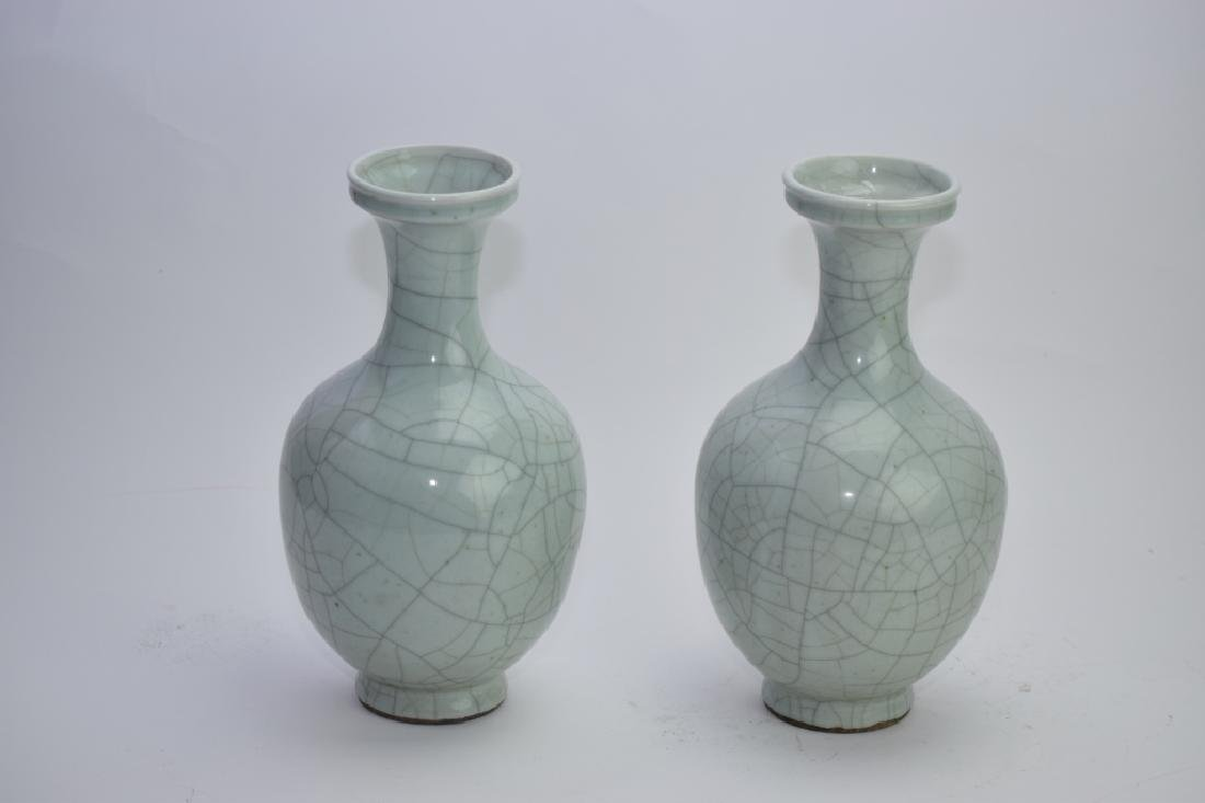 Pair of Republic Chinese Faux Ge Glaze Vases