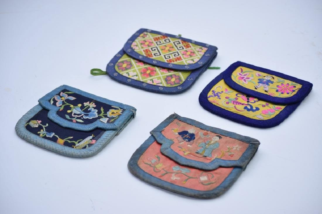 Group of Qing Chinese Embroidered Pouches