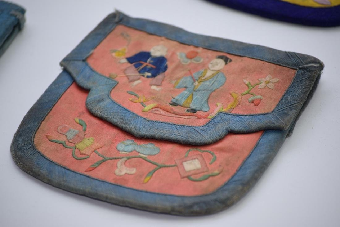 Group of Qing Chinese Embroidered Pouches - 2